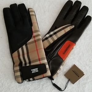 New Burberry Leather-Palm Bimaterial Gloves